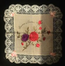 More details for antique silk and ribbon embroidered cushion covers from france  ww1 souvenirs