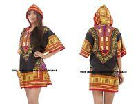 Men Women Unisex African Festival Hippie Black Shirt Loose Dashiki Hoodie Top