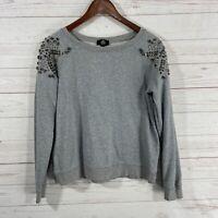 MNG Jeans Jeweled Long Sleeve Sweatshirt Size Meidum Gray Scoop Neck