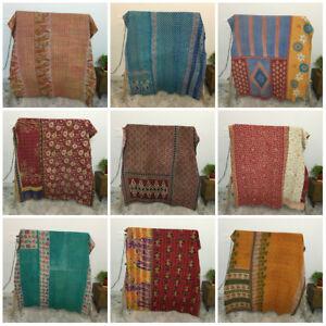 Vintage Indian Kantha Quilt Bedding Coverlet Reversible Bedspread Blanket Throw