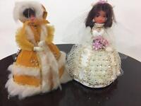 Lil Missy Beaded Doll Vtg Walco Lot 2 Bride 13304 Alaskan Beauty 13381 1970s Exc