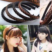 Black/Brown Synthetic Hair Plaited Elastic Head Band Braided Hairband Bohemian