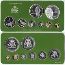 GUYANA Proof Set 1979 Franklin Mint With Silver $5 and $10 Dollars + COA B7