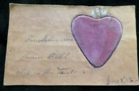 Vintage Leather Postcard With Velvet Heart 1907 Used Unposted 5218