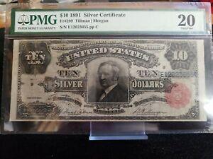 PMG Graded 20 VF $10 1891 Silver Certificate FR299 Tombstone Note Tillman Morgan