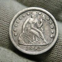1848 Seated Liberty Dime, 10 Cents.. Key Date Only 451,500 Minted..  Nice (169)