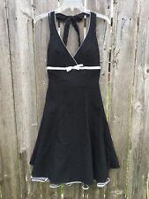 STEPPIN' OUT Women's L Black Dress Halter Neck White Trim Bow Petticoat Pinup
