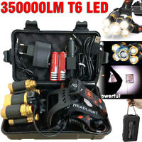 350000LM T6 LED Head Torch Light Headlamp Flashlight Set Rechargeable Waterproof