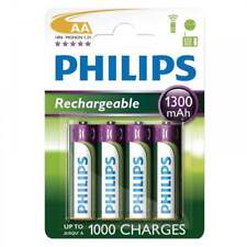 Philips 4 x AA 1300mAh NiMH Rechargeable Batteries - Battery Pack of Four