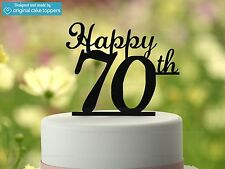 """Happy 70th"" - Black - 70th Birthday Cake Topper - Made by OriginalCakeToppers"