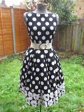 Black & white polka dot cotton linen dress by Fever Rockabilly Retro Vintage, 8