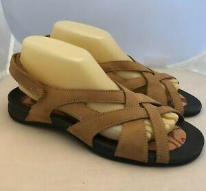 LANDS END Tan Leather Sandals Adjustable Ankle Strap Slingback Women's Size 9 B