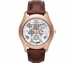 EMPORIO ARMANI Meccanico Automatic Silver Dial Brown Leather Men's Watch AR4675