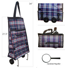 Shopping Grocery Folding Bag - Laundry Utility Cart Wheel w/ Handheld Magnifier
