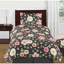 Sweet JoJo Designs Twin 4 Piece Set W/ Valance Watercolor Floral Black/Pink NEW