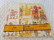 Vtg Childrens Gift Wrap American Greetings with tags Humorous Western Cowboys