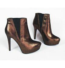 ROCK & REPUBLIC Georgine Bronze Metallic Copper Platform Ankle Bootie Heels 8