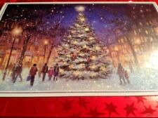 Christmas Greeting Glittered Card Christmas Tree In The City Unused+env