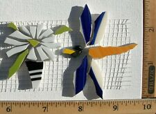 Flowers In Pot & Flying Dragonfly Mosaic Tiles, Broken - Cut China Tiles