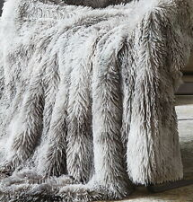 GREY FAUX FUR 50x60 MINK THROW : GRAY LUX MICRO SUEDE GLAMOUR BLANKET OMBRE