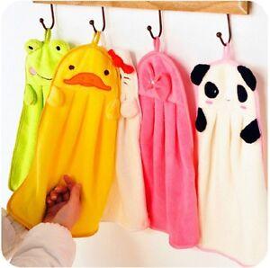 Cute Animal Hand Towel Cartoon Hanging Baby Face Kids Washcloth Bath Water Dry