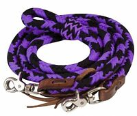 Showman PURPLE 8' Braided Nylon Barrel Reins W/ Scissor Snap Ends! HORSE TACK!