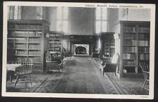Postcard ELIZABETHTOWN Pennsylvania/PA MASONIC HOMES LIBRARY Interior 1930's