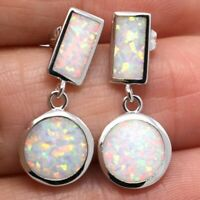 2Ct Round White Fire Australian Opal Earrings 14K White Gold Plated Jewelry Gift