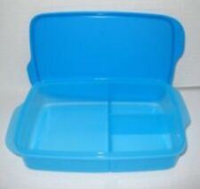 TUPPERWARE LARGE LUNCH-IT RECTANGLE DIVIDED DISH CONTAINER AZURE LIGHT BLUE