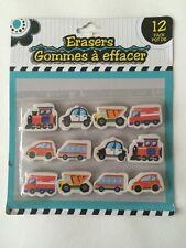 NEW 12 Piece Erasers (Transportation Theme)