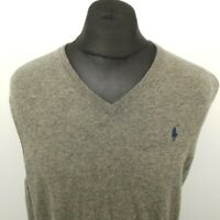 Polo Ralph Lauren Mens  Vest 2XL  Grey Merino Wool Cardigan Jumper Sweater