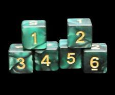 New Set of 6 Numbered D6 Six Sided Standard 16mm Dice - Marble Deep Green