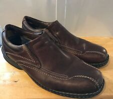 Mens DOCKERS Loafer Slip-on Shoes Sz 13M Bicycle Toe Brown Leather Pebbled EUC