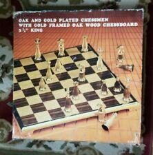 Vintage Chess Set Oak & Gold Plated Chessmen & Board Baron/Scott #1103