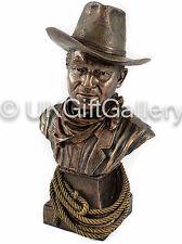 Cold Cast Bronze Resin Sculpture JOHN WAYNE BUST / HEAD Statue Cowboy Ornament