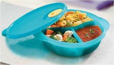 Tupperware Round Blue Crystalwave Divided Lunch Box Microwaveable Reheatable