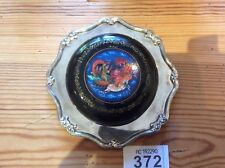 Russian Hand Painted Lacquer trinket box signed on Regent Silver Plated  Plate