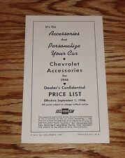 1946 Chevrolet Accessories Price List Car & Truck Sales Brochure 46 Chevy