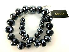 Glass Beaded Crystal Vintage Fashion Hematite Necklace Signed Cookie Lee Faceted