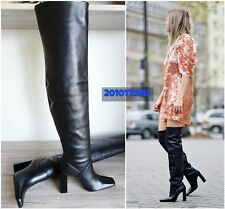 ZARA BLACK LEATHER HIGH HEEL OVER-THE-KNEE BOOTS SIZE UK 3 EU 36 USA 6