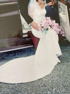 Stunning Custom Made White 2piece Wedding Dress With Swarovski Crystals.size10