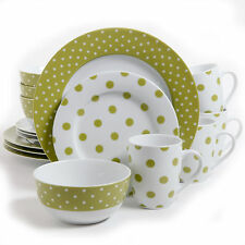 Isaac Mizrahi Green White Polka Dot 16-pc Dinnerware Dish Set Plates Mugs Bowls