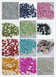 Wholesale 8mm /10mm semicircle flatback pearl Acrylic Beads scrapbooks DIY