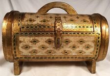 "Vintage 16"" Barrel Chest Italian Florentine Jewelry Box Keepsake Hinged Hasp"
