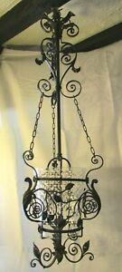 Antique Art Nouveau wrought iron hall CEILING LIGHT glass shade gas lamp lantern