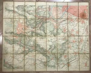 FRANCE VERSAILLES & ENVIRONS 19TH CENTURY LARGE ANTIQUE MAP FOLDING ON LINEN