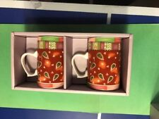 2 Hankook Mugs Cups Red Leaf Design 0864 Brand New In Box