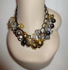 Joan Rivers Chunky Bubble Necklace Crystal Gray Gold Choker Bib Cluster Superb!