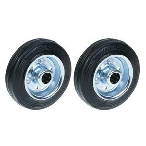 """100mm 4"""" wheels rubber tyre with pressed steel centre strong 180kg, set of 2"""