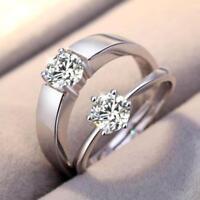 Silber Plattiert Damen Ring Herz zirkonia Ehering Verlobungsring Trauring N J6V8